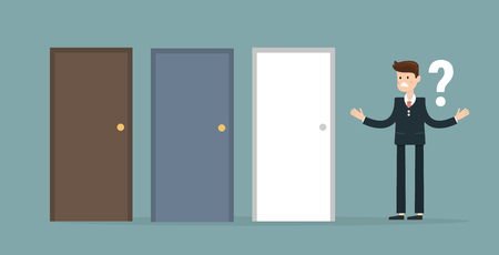 unable: Businessman standing beside three doors, unable to make the right decision concept with question marks above his head