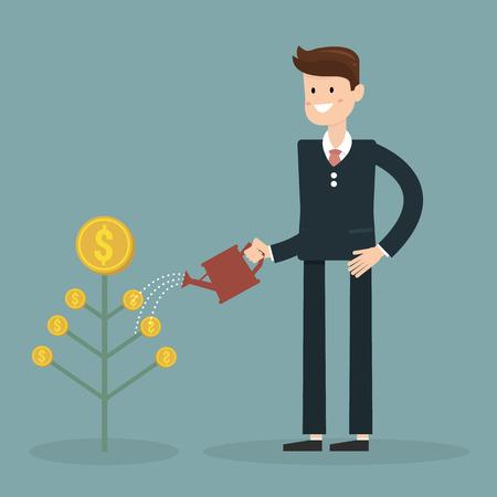 financial adviser: Money Growth. Flat design illustration. Businessman watering money tree