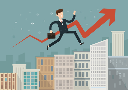 Confident businessman walking up the career stairs. Concept of web banner with person walking to the success. Modern flat design of urban landscape with city buildings, vector illustration. Illustration