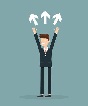 choise: Businessman with three way choice. Businessman concept illustration.