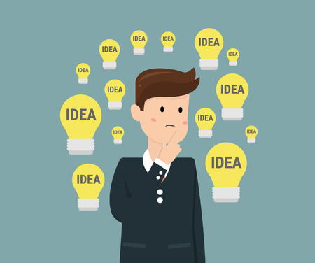 businessman thinking: Dilemma of businessman. Thinking man with idea bulbs.