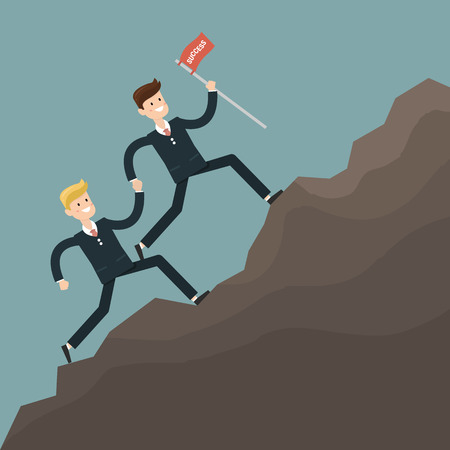 obstacles: businessman teamwork overcome obstacles. vector Illustration