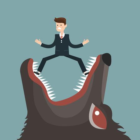 businessman fall into a trap devil wolf. vector Ilustração Vetorial