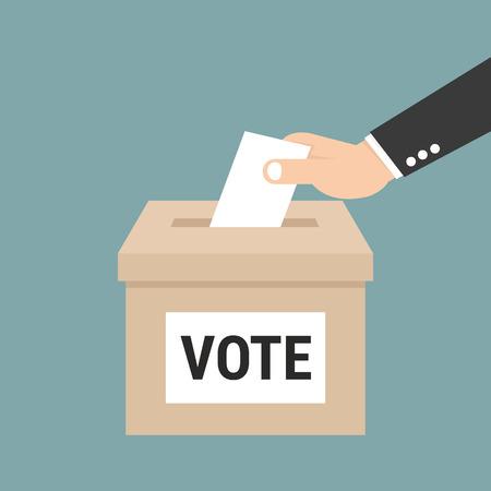 投票での投票用紙を置くビジネスマン手ボックス、投票の概念ベクトル、EPS10  イラスト・ベクター素材