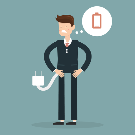 unplug: Business concept, Businessman feeling tired and low battery. Vector illustration.