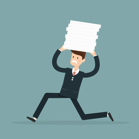 overload: Businessman run holding a lot of documents in his hands. vector