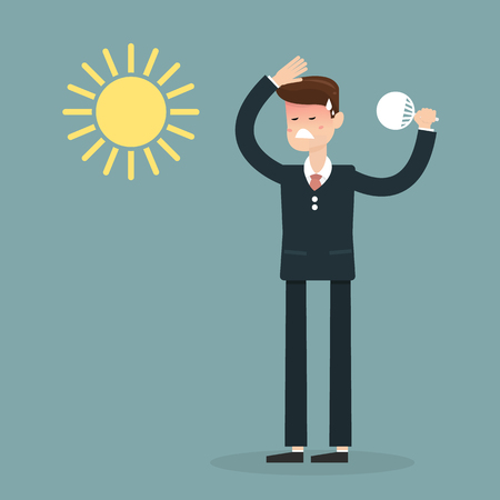 blow: Businessman very hot with folding fan blow and the sun