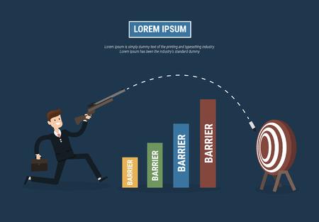 success concept: Businessman shoot target. success concept. Illustration