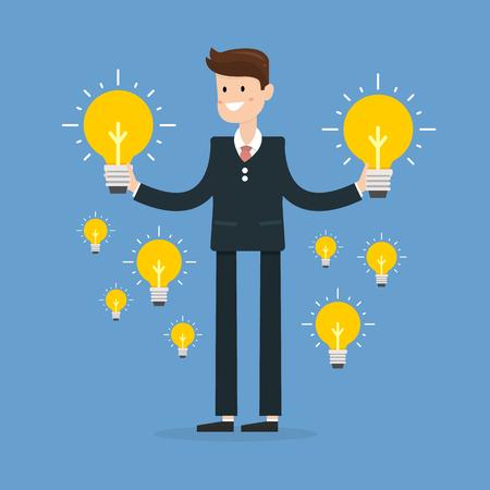 dilemma: Dilemma of businessman. Thinking man with idea bulbs.