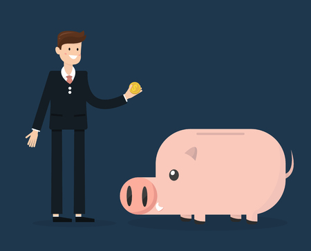 put: Man in suit, businessmen or manager put money into a piggy bank.