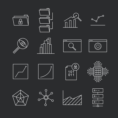 bar magnet: Data Analytics Line Icons
