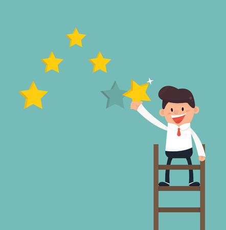 five star: Businessman giving five star rating Illustration