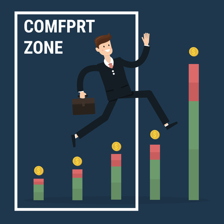 businessman jumping: Businessman jumping out of the comfort zone to success. Illustration