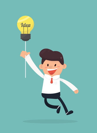 Businessman flying out by light bulb of idea Illustration