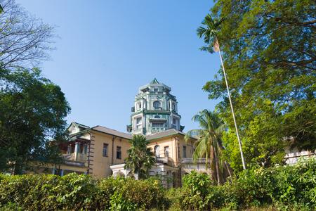 YANGON, MYANMAR: Yangon old building architecture in Chinatown, Yangon, Myanmar