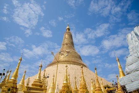 travelled: Shwedagon Paya pagoda Myanmer famous sacred place and tourist attraction landmark.Yangon, Myanmar Stock Photo