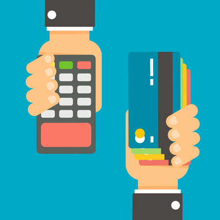 Declined payment via payment processing system. Hand with credit card, hand holds POS terminal. Modern flat design for web banners, websites, printed materials, infographics. Vector illustration Illustration