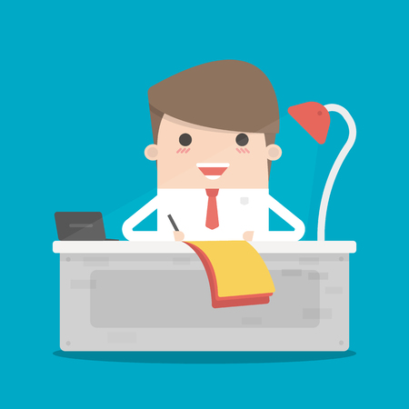 salesman: Businessman writing a business plan, tax letter, financial report. A man sits, table with a sheet of paper. Flat style illustration Illustration