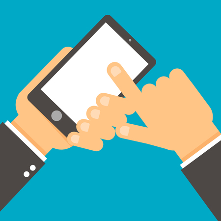 Hand holds smartphone, finger touch screen.