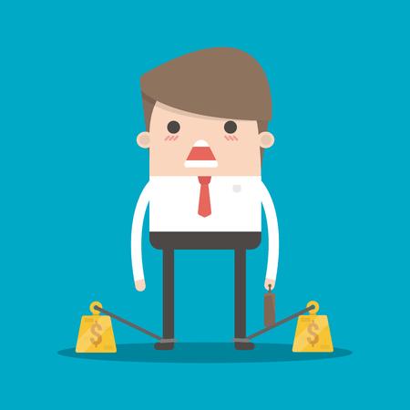 esclavo: hombre de negocios encadenado a su gran peso de la deuda pesada con grilletes. El hombre de negocios exlavetud corporativa. estilo de ilustración imágenes prediseñadas vector plana.