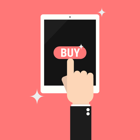 smart card: Internet shopping concept. Hand pulling buy button on tablet. Three items in shopping cart. E-commerce concept. Shopping online. Illustration
