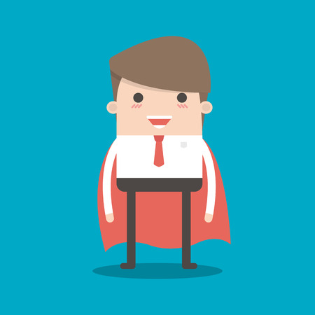 Super Businessman. Cartoon businessman stands with his arms crossed in a cloak of Superman. Business concept illustration.