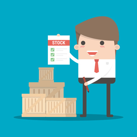 Man in suit, businessman, manager or logistic stands near boxes.