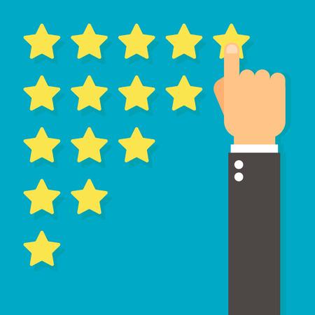 Beoordeling en feedbackconcept. Hand met wijzende vinger die aan vijfsterrenclassificatie, Vlak ontwerp richt Stockfoto - 72836208