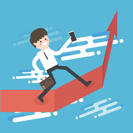 Successful businessman with a growing chart Illustration