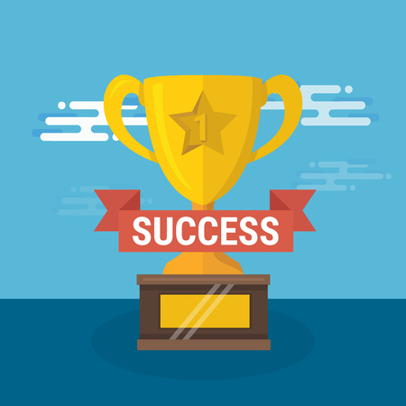 Modern flat design square web icon on success, victory golden bowl prize and medal award, winning and achievement