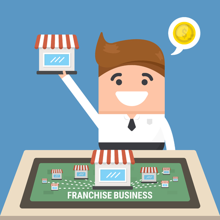 Businessman want to expand his business, franchise concept. business concept. flat design