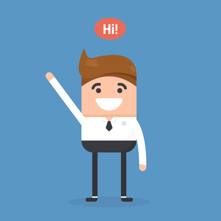Successful young businessman character saying hi with speech bubble, front view. Business, job, professional, consultant concept. EPS10 vector illustration
