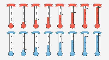 illustration of red thermometers with different levels, flat style, EPS10. Ilustração