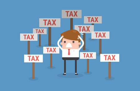 Cartoon businessman and tax Ilustração