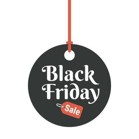 Black Friday sale black tag, round banner,  vector illustration