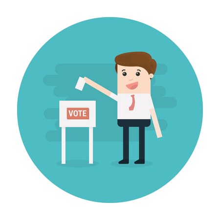 polling booth: Vote, Man Voting at ballot box. Vector illustration