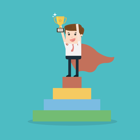 Businessman holding trophy cup standing on the stair.