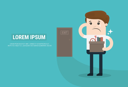 dismissal: Businessman Leaving Job, vector, flat design