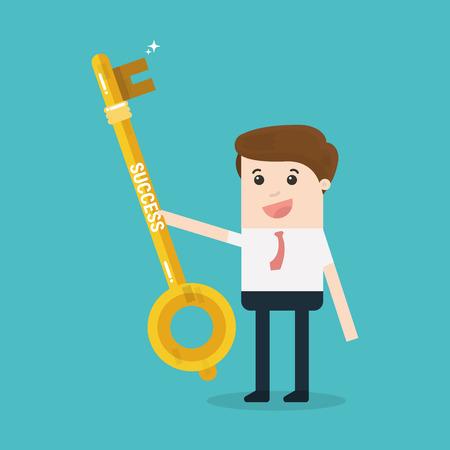 Businessman or manager holds a golden key in his hand. Vector, illustration, flat Illustration