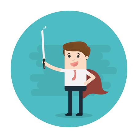 super business man holding sword, business success