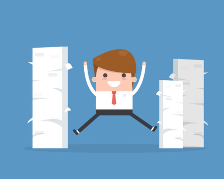 Happy businessman and a mountain of documents. Illustration