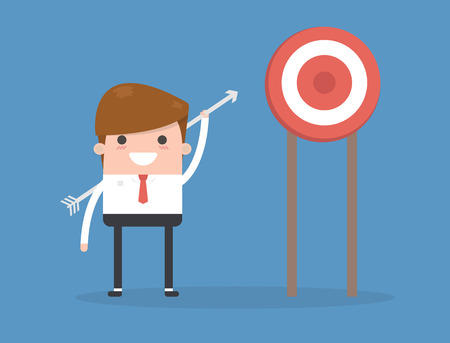 Manager or businessman throws arrows at a target. Vector, illustration, flat