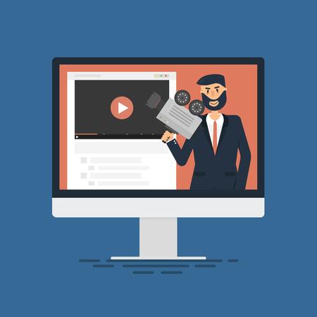 Man Blogger Video Computer. Concept blogging.Digital blog. Flat design.