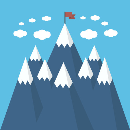 Concept business and success. Red flag on a Mountain peak.