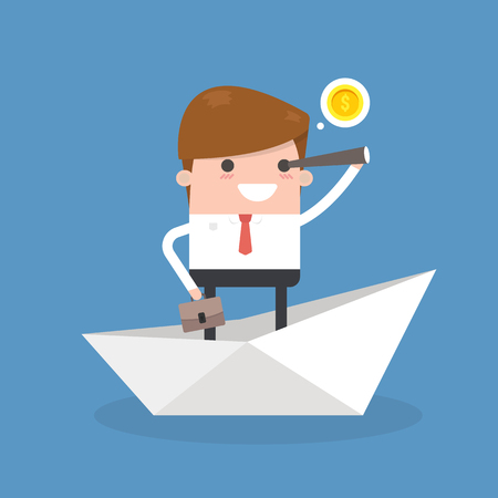 Businessman Leaving Job, flat design vector illustration.