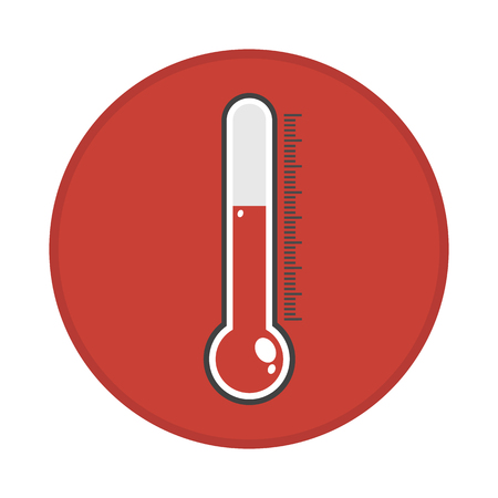Thermometer Icon in red circle background. Иллюстрация