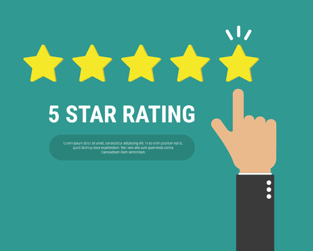 Hand pointing at one of five stars. Rating, evaluation, success, feedback, review, quality and management concept.