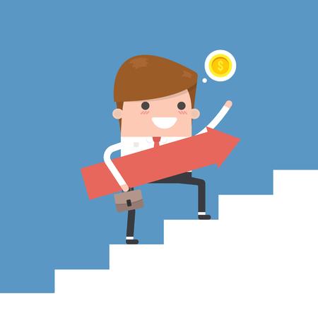 Rising up. Businessman holding an arrow sign 向量圖像