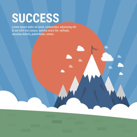 Vector flat flag on mountain. Success illustration. 向量圖像