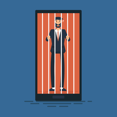 Businessman locked in smartphone, flat design, vector.